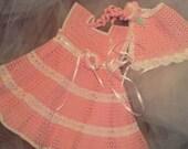 elegant pink/white crocheted dress and bonnet