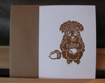 Nuts For You - Linocut & Letterpress Printed A2 Greeting Card