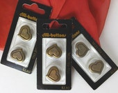 Heart Shaped Buttons Full Metal Shank Back lot of 6