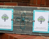 Picture Frame with Wire Cross - Distressed Wood - Holds 2 - 5x7 Photos - Horizontal Boards - Gray and Pool Blue