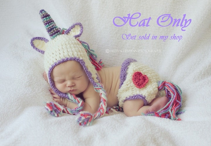 Crochet Baby Unicorn Pattern : My Little Unicorn Crocheted Hat Made to Order Any size-HAT