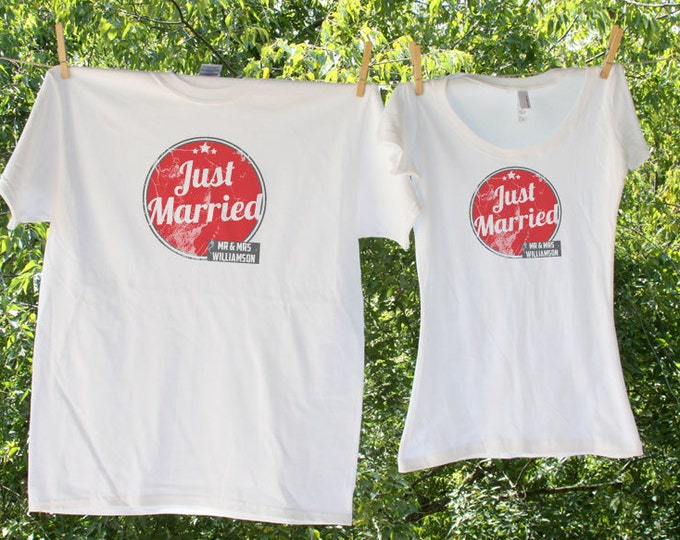 Just Married Red Circle Shirts - Mr and Mrs - two shirt set