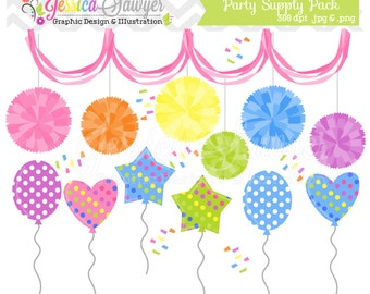 INSTANT DOWNLOAD,  party clipart, pom pom clip art, balloon graphic, for commercial use, greeting cards, invitations, scrapbooking