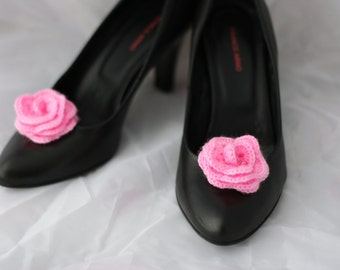Pink flower shoe clips