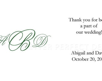 """Personalized Gratuity Vendor Tip Tipping Thank You Envelopes - """"Young Love Monogram"""""""