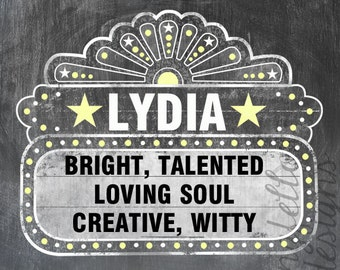 Customized Name Art with Marquee and Chalkboard Look Background -  For Girl or Boy