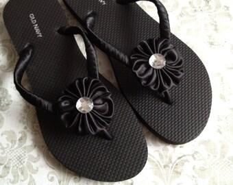 Black or White Decorated Satin Flip Flops