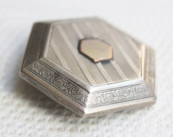 Vintage 1920's Hexagon Striped and Floral Art Deco Brooch-Pin- TT Team