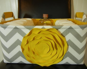 """ExLarge-Diaper Caddy-14""""x 10""""x 7""""(CHOOSE COLOR)Two Dividers-Baby Gift-Fabric Storage Organizer-Chevron-""""Mustard yellow Rose on Grey Zigzag"""""""