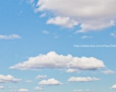 Blue Sky White Fluffy Clouds Sky  - Spring Summer Nature Photography - Wall Art -  Home Decor Fine Art Print