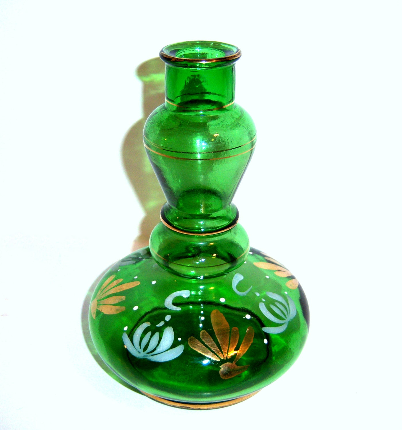 Vintage green glass bottle hand painted glass bottle made for Hand painted glass bottles