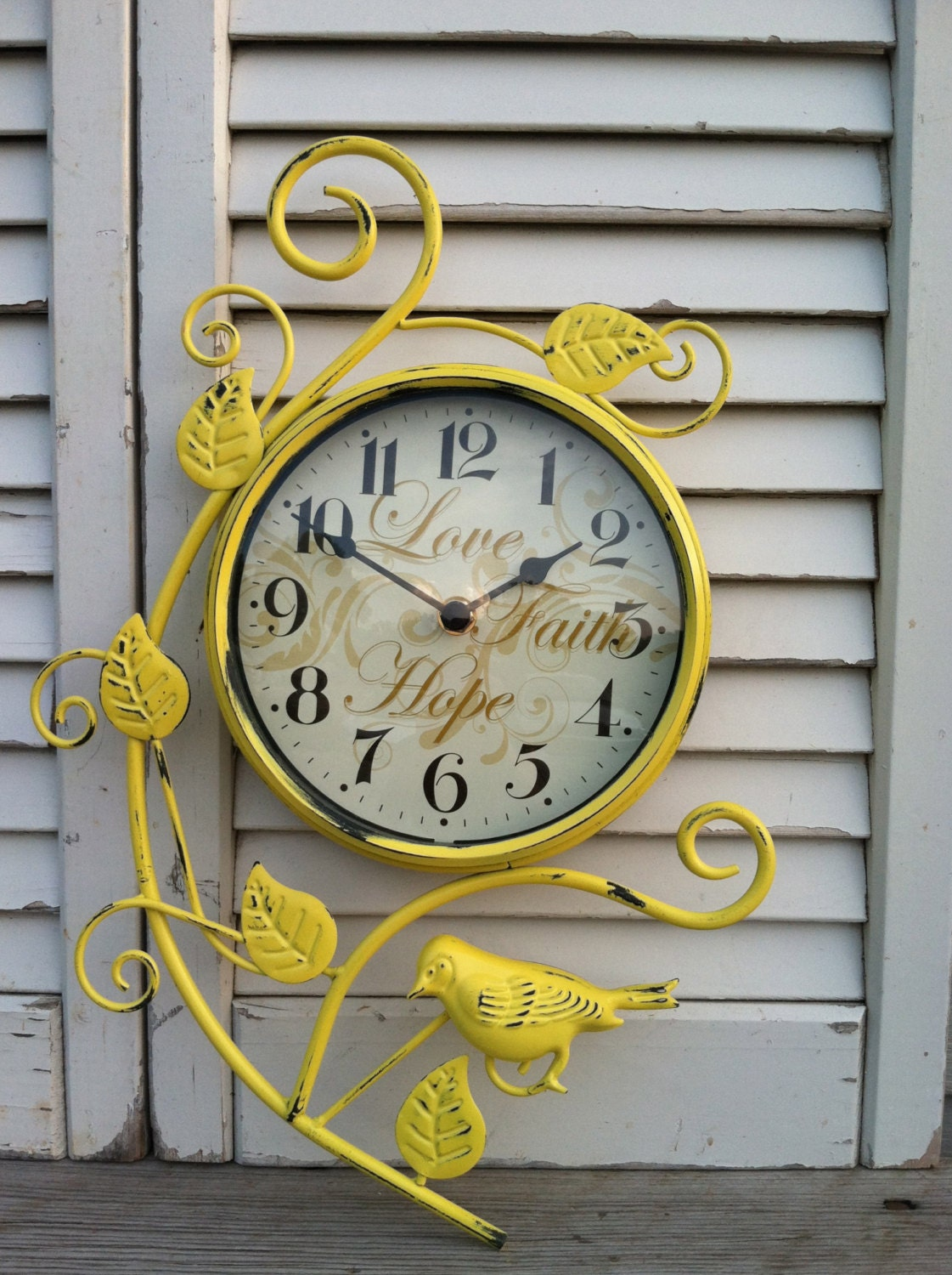 French Country Clock With Bird Love Faith Hope Wall