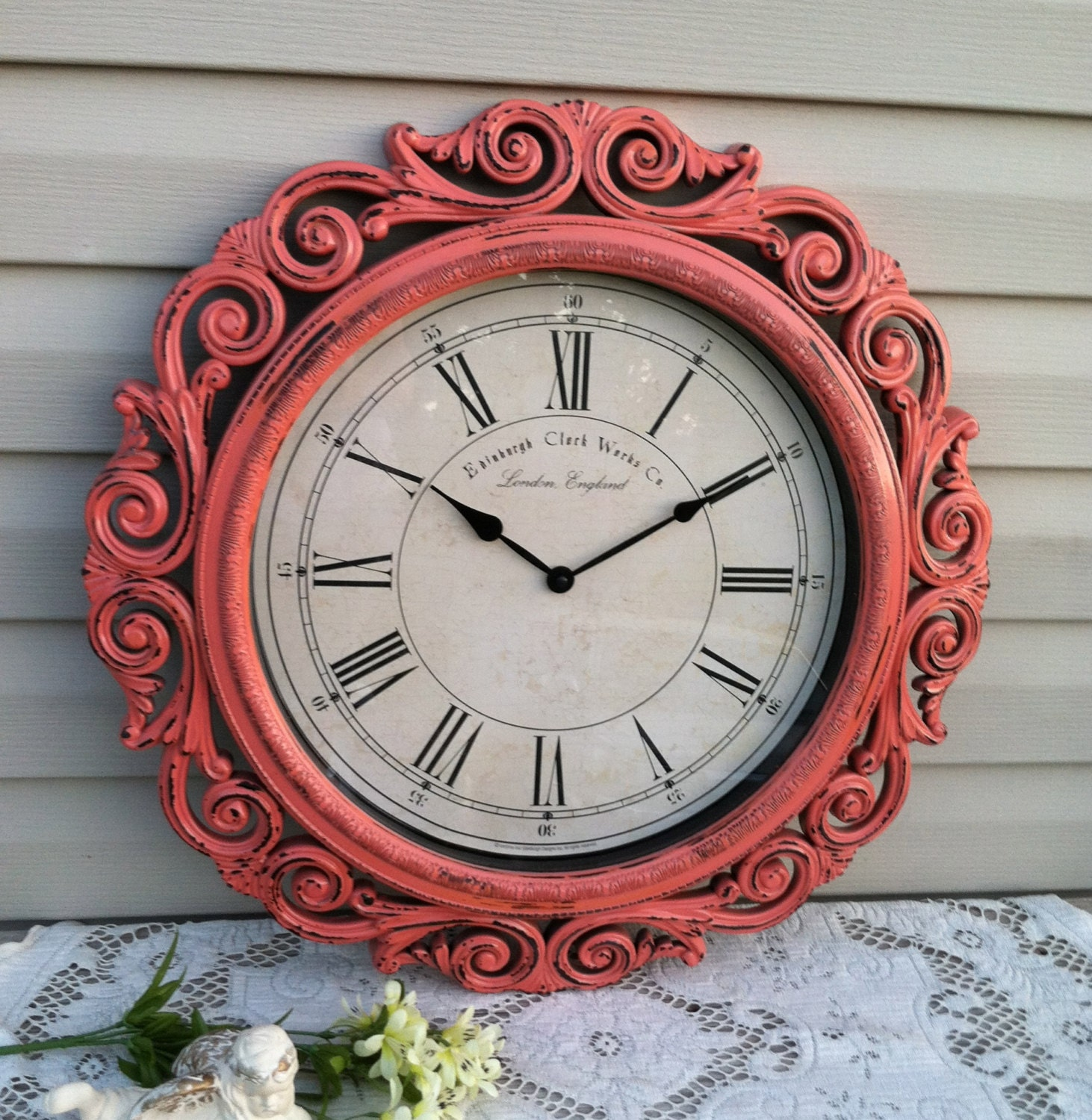 Coral Large Baroque Wall Clock 23 Wide By Refeatheryournest
