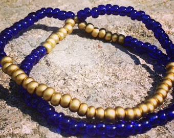 Bracelet - Double Strand Cobalt Blue & Gold Bead Stretch Bracelet / Blue and Gold Bracelet