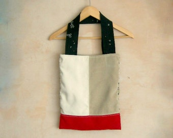 Colorblock Tote Bag. Geometric Fashion. Embroidered Straps. Burgundy. Off white. Beige.