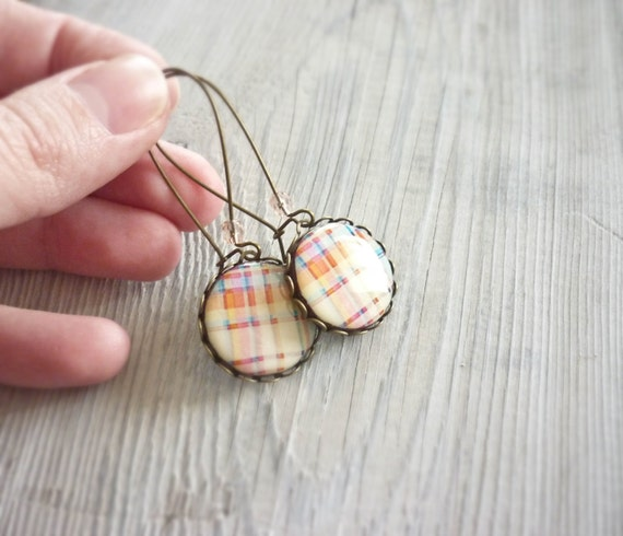 SALE Plaid earrings, gift for her, light colors