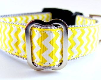 """Chevon Dog Collar Yellow and Grey 1"""" Wide or any color combination"""
