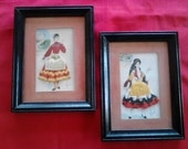 Vintage  Framed Pictures of Costumed Greek Ladies  ECS