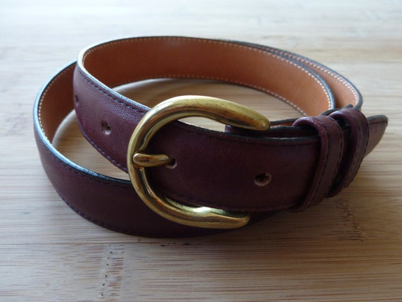 Vintage LL BEAN Burgundy Leather Belt 28.  Made in USA.