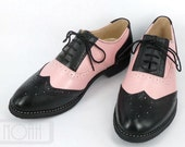 Black with Pink Vintage Inspired Fashion Handmade Handcrafted High Heels Leather Wing tips
