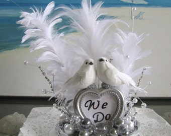 Lovebirds White Feather Pearls Wedding Cake Topper~We Do Cake Topper
