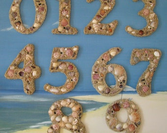 Seashell House Numbers~Beach House Numbers~Custom Made to Order