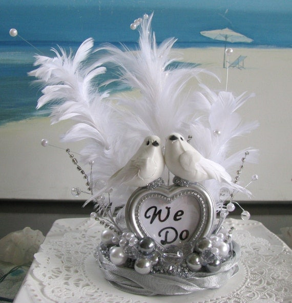 Lovebirds White Feather Pearls Wedding Cake By CeShoreTreasures