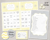 INSTANT DOWNLOAD Baby Shower Games - Digital PDF Files - Yellow and Grey