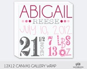 Baby Birth Announcement Keepsake - Great shower gift - Wall Decor 12x12