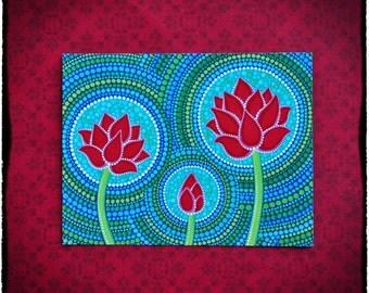 Family of Three- Lotus Flower Art Postcard for Meditation