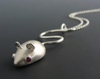 Sterling silver and Rhodolite garnet Mouse Pendant