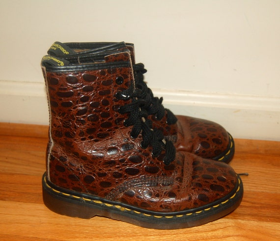 Reserved for annamcfalls Croc Print Doc Dr. Martens Made in England 1990s UK 3 US 5 6 RARE