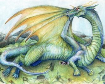 "1 x blank dragon greetings card ""Draw me like one of your French dragons"""