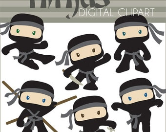 Ninja Clipart Set -Personal and Limited Commercial- Cute Boy Ninjas Clip art