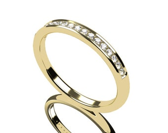 Diamond ring, Yellow gold, Wedding band, half eternity, Diamond wedding band, thin, gold band, thin, wedding ring, Gold wedding