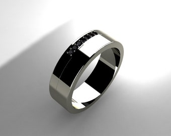 Black diamond ring, men wedding band, Palladium ring,Palladium band, diamond wedding band, black wedding, commitment ring