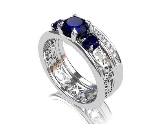 Engagement Ring Set Blue Sapphire Filigree By TorkkeliJewellery