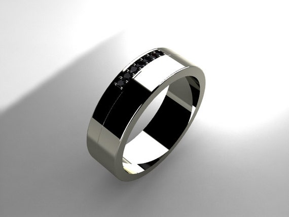 Black Diamond Ring Men Wedding Band Palladium Ring
