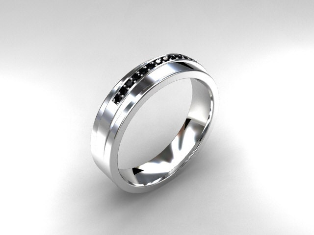 Black Diamond ring mens wedding band White Gold mitment