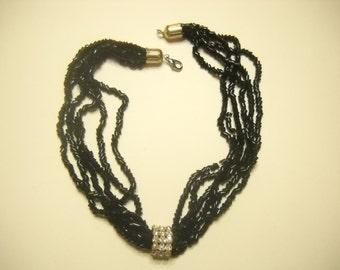 Vintage 7 STRANDS NECKLACE, RHINESTONE Center (5996) Black Chipped Beads