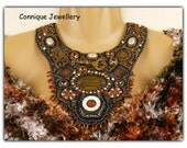 Steampunk Gold Bronze Bead Embroidered Necklace