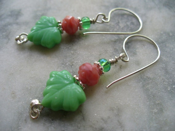 Lime Green Maple Leaf and Coral Rosebud Earrings - Lime Green Opaque Maple Leaves - Opaque Coral Rosebuds Czech Glass Beads