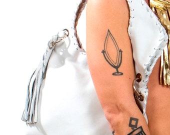 White Leather Purse - Handmade Geometric Messenger Bag