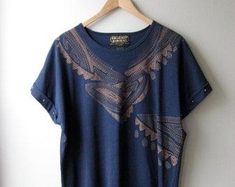 80's Studded Sleeve, Over Sized Print Shirt