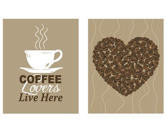Coffee Lovers Live Here Art Print Coffee Beans Heart Print 2 Print Set Coffee Home Decor Coffee Kitchen Decor Love Modern Sign Poster
