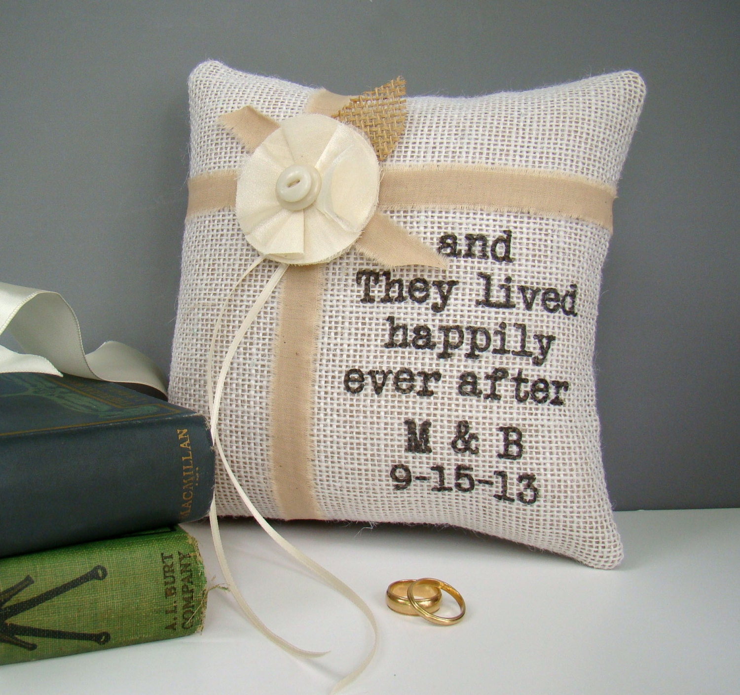 Monogram Wedding Ring Bearer Pillow: Personalized Burlap Ring Bearer Pillow Rustic Wedding