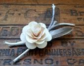 Classic Woodland Birch Rose Boutonniere