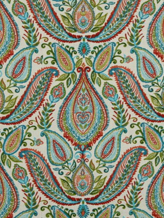 Red Paisley Fabric Woven Cotton Upholstery Modern Paisley