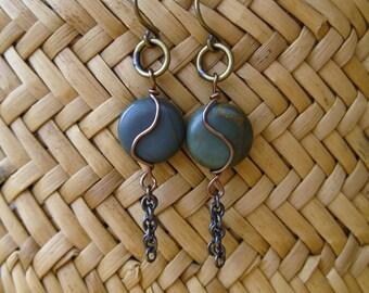 Red Creek Jasper Wire-Wrapped Earrings