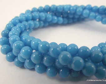 Blue Mountain Jade Round Beads, 4mm, 16 Inch Strand, Whole Strand